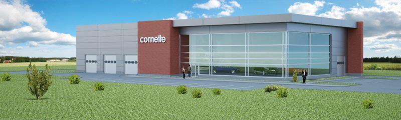 Bouw van een autosalon voor de Poolse firma CORNETTE
