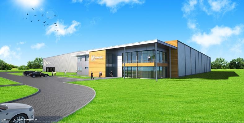 De bouw van een productiehal met opslagruimte voor de firma DINOPOL