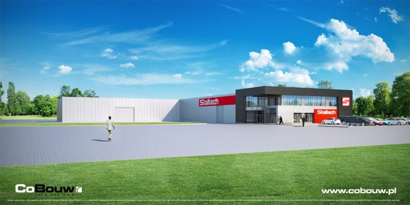 Complete bouw van productiehal met opslagruimte en kantorengebouw voor het bedrijf STALTECH