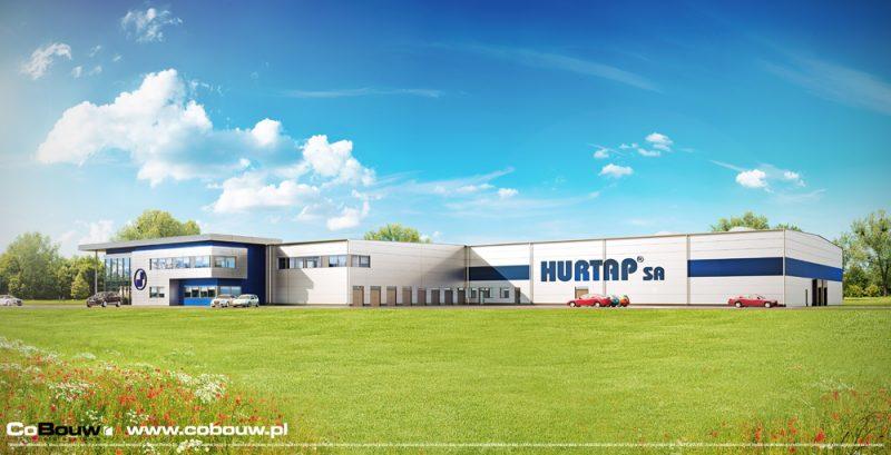 De nieuwbouw van een opslaghal met kantoorpanden voor de firma HURTAP S.A.