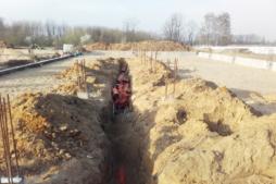 wykopy pod instalację kanalizacyjną-hala magazynowa z częścią socjalno-biurową, Firama AMP Polska, Częstochowa