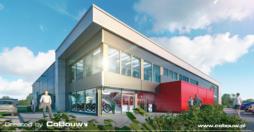 wizualizacja części biurowej - nowoczesna hala produkcyjna, firma Dawstar, Olesno, woj. opolskie