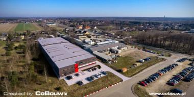 Intap investering, visualisatie van vogelperspectief - productie- en opslaghal met sociaal en kantoorgebouw, Bukowiec, provincie łódzkie.