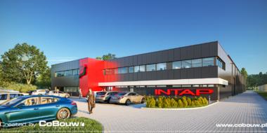 visualisatie van de Intap-investering, algemeen beeld - de bouw van een procukcyjno-magazijnhal met een kantoorgebouw in Bukowiec, łódzkie voivodship