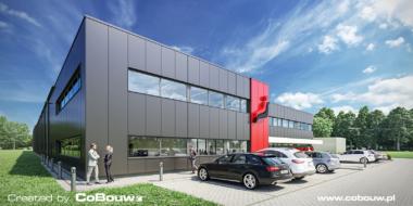 visualisatie van het Intap-gebouw - hal met kantoorgebouw, hoofdaannemer CoBouw Polska, Bukowiec, provincie łódzkie