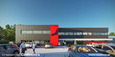 Visualisatie van de Intap-faciliteit, vooraanzicht - investering voor de automobielindustrie, Bukowiec, provincie łódzkie
