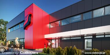 close-up van kantoorgedeelte, visualisatie - bouw van productie- en opslaghal met kantoorgebouw, door CoBouw Polska, in Bukowiec bij Lodz